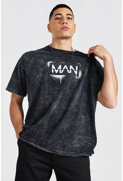 Charcoal grey Oversized Original MAN Acid Wash Spray T-Shirt