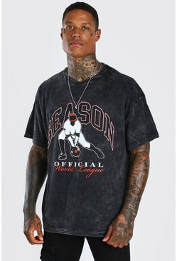 Charcoal grey Oversized Acid Wash Baseball Print T-Shirt