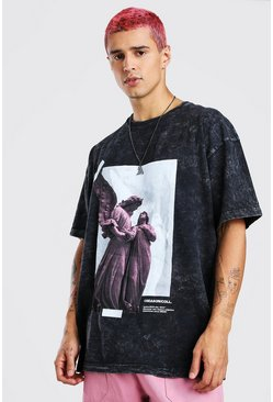 Charcoal Oversized Acid Wash Shadow Statue Print T-Shirt