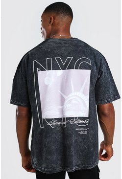Oversized Acid Wash NYC Back Print T-Shirt, Charcoal gris