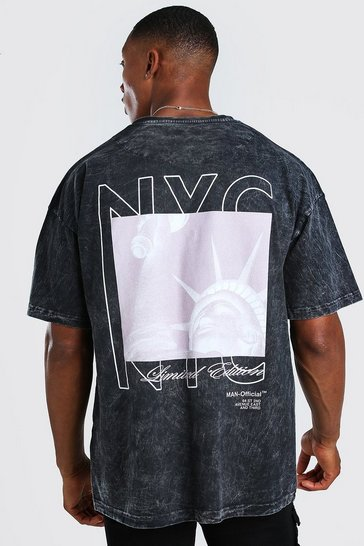 Charcoal grey Oversized Acid Wash NYC Back Print T-Shirt