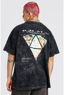 Charcoal grey Oversized Acid Wash Renaissance Print T-Shirt