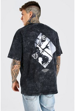 Charcoal grey Acid Wash Gebleekte Oversized Renaissance Print T-Shirt