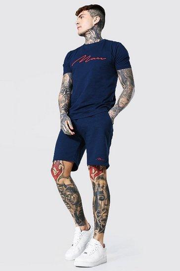 Navy 3d Man Embroidered T-shirt & Short Set