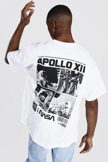 White Oversized Nasa Back Print License T-shirt