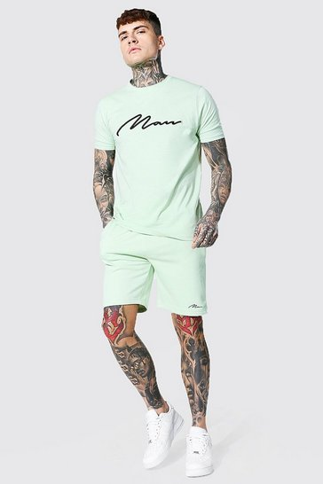 Sage green 3d Man Embroidered T-shirt and Shorts Set
