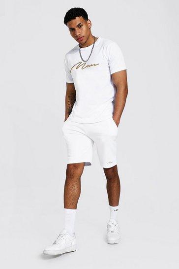 White 3d Man Embroidered T-shirt & Short Set