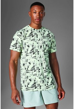 Lime green Man Active Abstract Print T Shirt