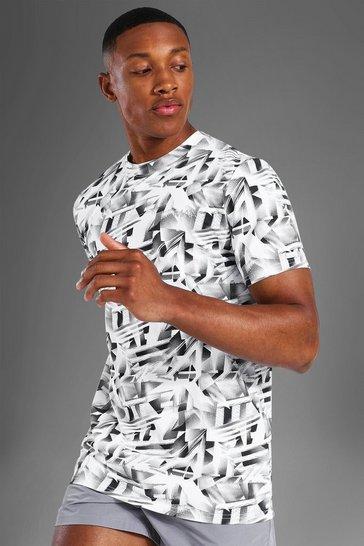 White Man Active Abstract Print T Shirt