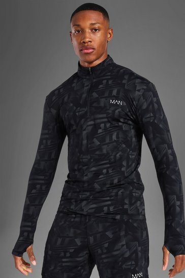 Black Man Active Abstract Muscle Fit ¼ Zip Top