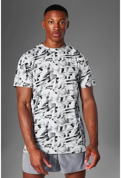Grey Man Active Abstract Print T Shirt