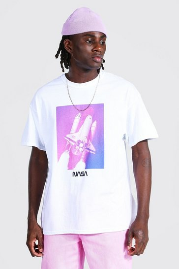 White Oversized Nasa Rocket License T-shirt