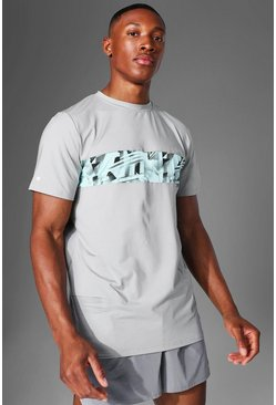 Grey Man Active Abstract Panel T Shirt