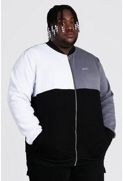 Grey Plus Size Man Dash Colour Block Jersey Bomber