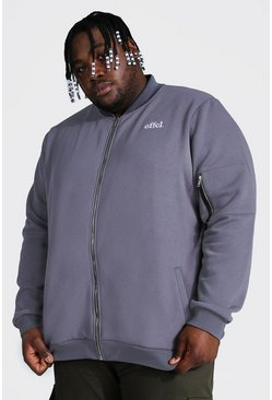 Plus Size Embroidered Ma1 Jersey Bomber, Grey gris