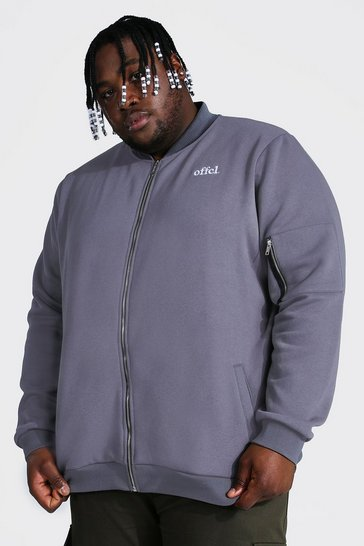 Grey Plus Size Embroidered Ma1 Jersey Bomber