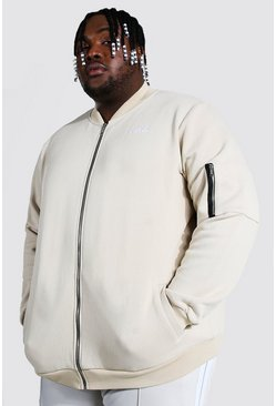 Stone beige Plus Size Embroidered Ma1 Jersey Bomber