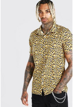 Gold Short Sleeved Collared Leopard Print Shirt