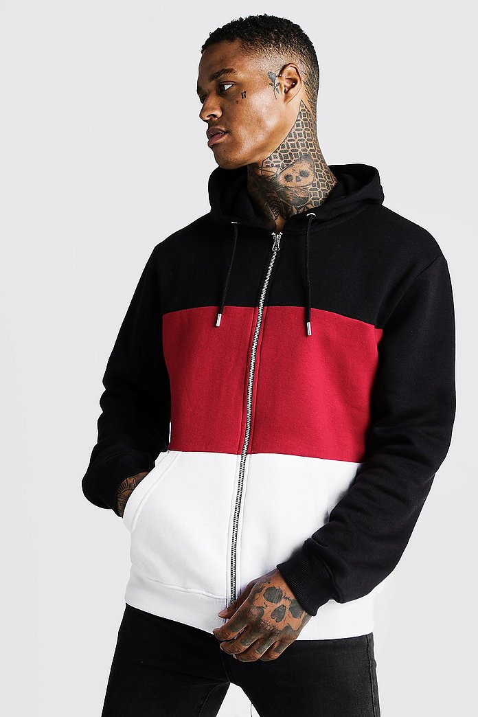 Colour Block Zip Through Hoodie | Boohoo UK