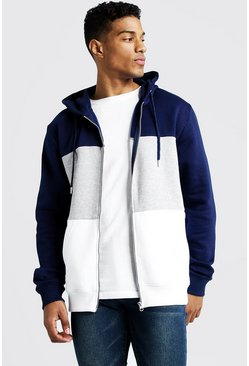 Grey marl grey Colour Block Zip Through Hoodie