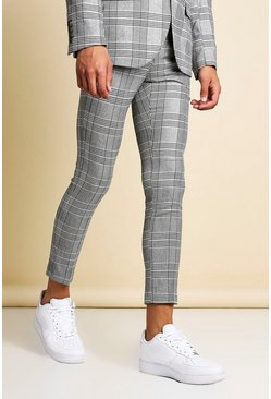 Black Skinny Fit Mono Check Cropped Suit Trouser