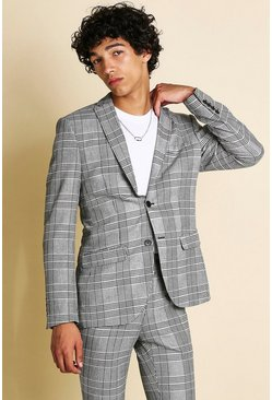 Black Skinny Fit Mono Check Suit Jacket