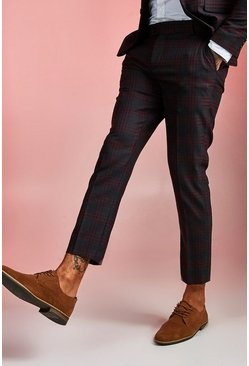 Burgundy red Bold Check Skinny Fit Suit Cropped Pants
