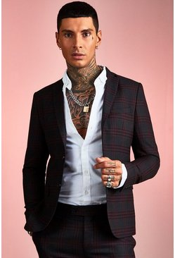 Burgundy red Bold Check Skinny Fit Suit Jacket
