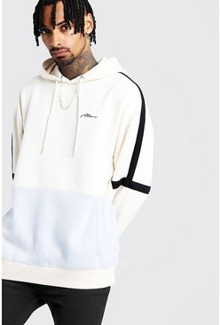 Ecru white MAN Signature Colour Block Oversized Hoodie
