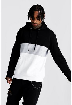 Grey Colour Block Overhead Hoodie