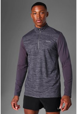 Charcoal grey Man Active Textured ¼ Zip Panelled Top