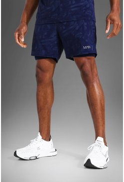 Navy  Man Active Abstract Print 2 In 1 Shorts