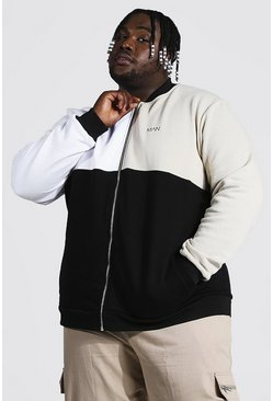 Plus Size Man Dash Colour Block Jersey Bomber, Stone beis