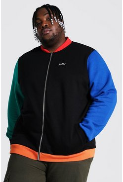Black Plus Size Colour Block Jersey Bomber