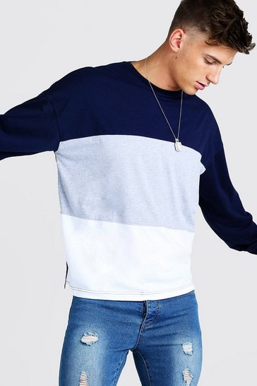 Grey marl grey Colour Block Oversized Long Sleeve T-Shirt