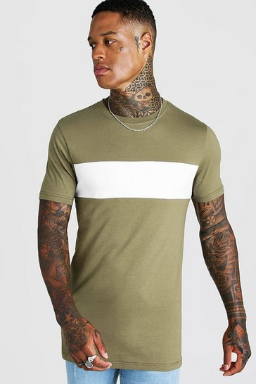 Khaki Colour Block Muscle Fit T-Shirt In Longline