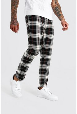 Grey Plaid Cropped Smart Pants With Chain