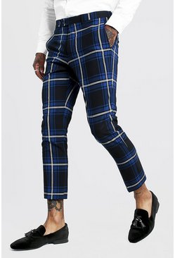Cobalt blue Large Scale Tartan Smart Cropped Trouser