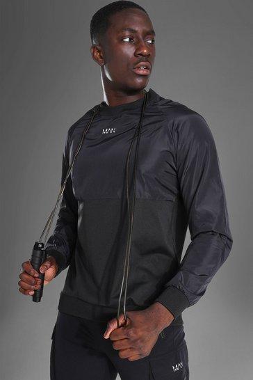 Black Man Active Matte Shell Raglan Sweatshirt
