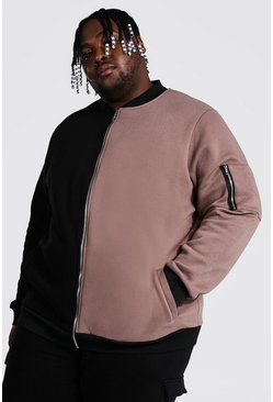 Brown Plus Size Colour Block Ma1 Jersey Bomber