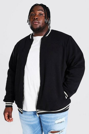 Black Plus Size Man Script Hem Detail Jersey Bomber