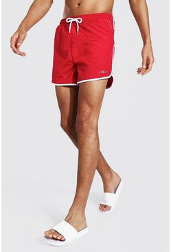 Red Tall Man Signature Runner Swim Short