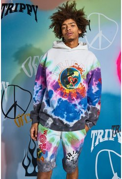 Multi Oversized Official Trippy Funk Tie Dye Hoodie