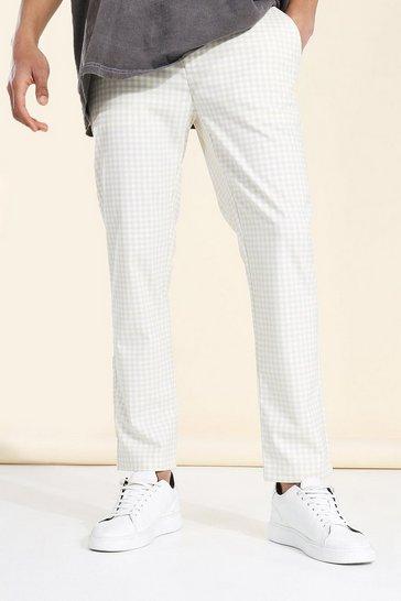 Ecru white Skinny Gingham Check Cropped Smart Trouser