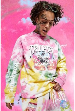 Oversized Official Man Trippy Tour Sweater, Yellow gelb