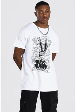 White Oversized Bugs Bunny License T-shirt