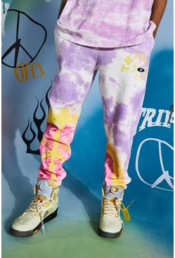 Purple Regular Peace Graphic Tie Dye Joggers
