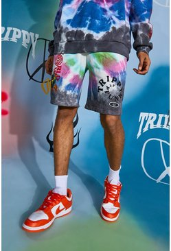 Multi Regular Fit Worldwide Tie Dye Jersey Shorts