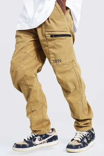 Stone beige Relaxed Fit Twill Cargo Trouser With Man Tab