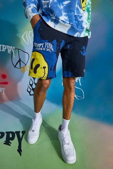 Blue Trippy Drip Face Tie Dye Shorts